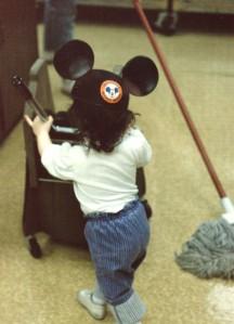 me pushing mop bucket young